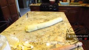 Roll dough/cinnamon sugar into tube