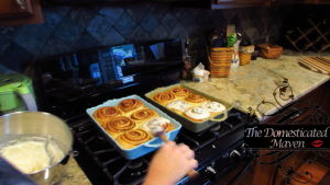After baking, spoon icing over each cinnamon roll
